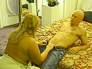 Chubby blonde cougar plays with a dick and gets fucked in homemade scene