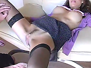 A pleasurable stunner in a sexy apparel gets fucked by her BF