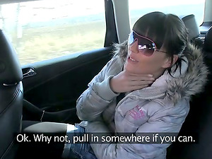 This Sexy Arse Teenage Black-haired Falls for Faux Fuck Cab!