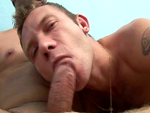 A man inhales a dick and gets butt fucked in messy homo flick