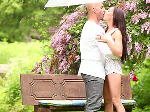Long-haired dark-haired gets banged rear end style in the garden