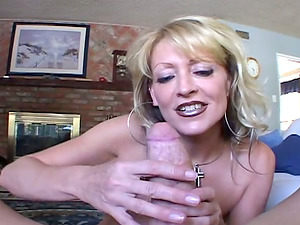 Blonde With Tongue Piercing Displaying Off Her Fellatio Abilities