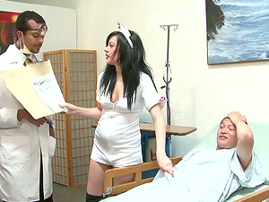 Magnificent nurse gets group-fucked in a hospital