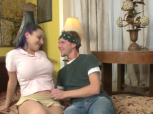 Lusty mummy and horny brown-haired are on a hard one
