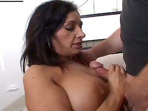 This Bitch With Big Tits and Hairless Vulva Plays and Fucks