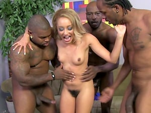Honey with a Hairy Cunt Group-fucked by Some Big Black Penis