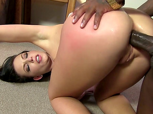 Gorgeous Tattooed Dark haired Fucked Hard In Asshole By Black Stiff Rod