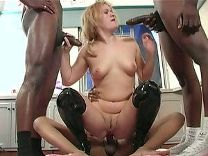 Erica luvs a facial cumshot after getting her crevices banged by four black folks