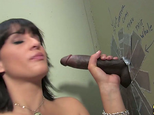 Beautiful Black-haired Sucking Gloryhole Rod And Drinking Sperm