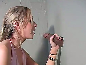 Gloryhole session with a sizzling platinum-blonde chick