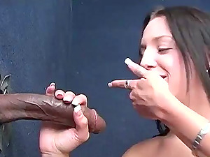 Hot Black-haired Tart Providing Oral pleasure to Lucky Black Dude