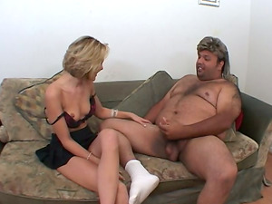 Kinky Duo with a Hot Damsel Finger-tickling a Fat Man's Bootie