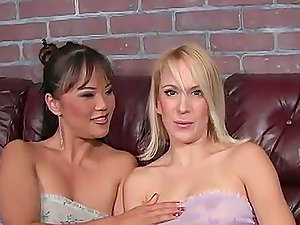 Two hot bitches demonstrate their fuck abilities in this interracial threesome flick