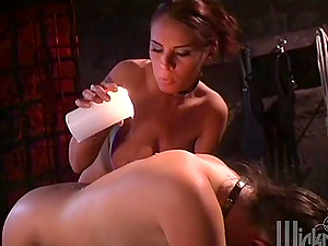 Female domination Activity with a Chesty Mistress Tantalizing Her Victim