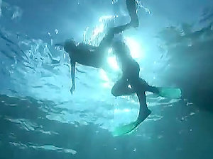 Weird Underwater Shag With Two Divers