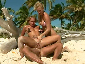 Two Bitches, One Beach and a Horny Stud.