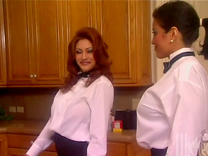 Two petite waitresses are going to share a manstick in the kitchen