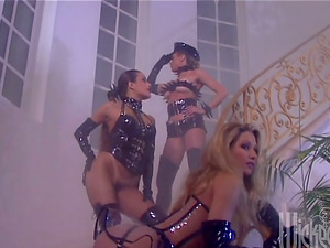 Felicia Serneity and Shayla La Veaux Leather Clad Girl/girl Threeway! Femmes and Their Playthings!