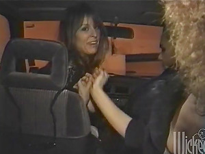 Two blonde cougars give a handjob and a oral job in a car