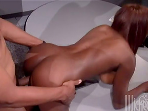 Dark-hued Porn industry star Gets Railed Hard by a Milky Dude