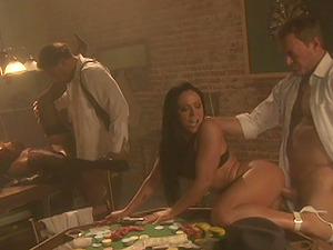 Cherokee and Mia Smiles love four way banging on a pool table