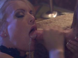 High Heel Wearing Blonde Lets a Boy Jizz in Her Mouth