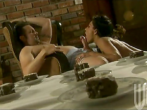 Sultry Exotica licks nuts and deep throats a dick after a dinner