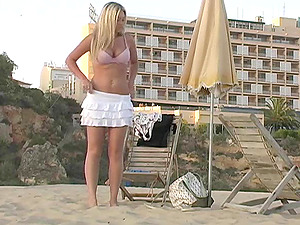 G-strings are off and Alison Angel is having joy on the beach