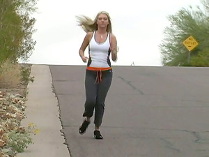 Gorgeous Blonde Taking A Jog In Sport Footwear Fondles Her Tits