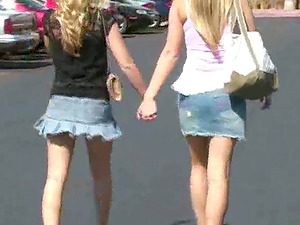 Two Hot Blonde Adult movie stars Go Shopping and Flash in Public