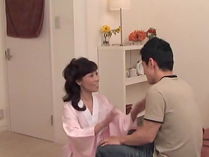 Japanese mom gets her cunt ate and fucked in cowgirl position
