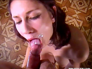A sweet black-haired stunner gives head and gets a mouthhole