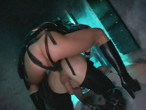 Hot black-haired honey with big tits and in spandex underwear gets Double penetration
