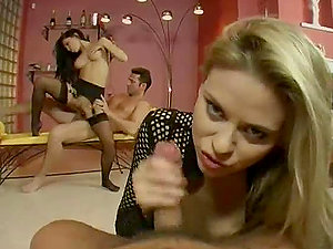 This hot flick starts with two sexy honeys and concludes up with four bangers