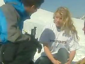 Horny blonde honey picked up and fucked at the ski resort
