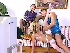Alexa Weix and Wanda Steel fuck with a man in a dog dog collar