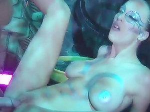 Fantastic scene of alien like duo fuck