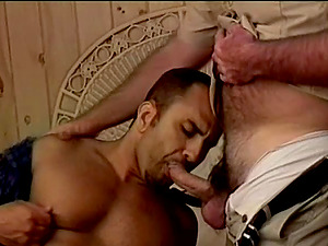Two hairy guys love gonzo rectal romp in a bedroom