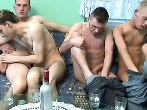 A fag group fucky-fucky flick with four dudes fucking each other