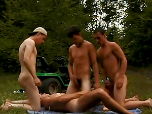 Two queer couples have a wild group hookup in a forest