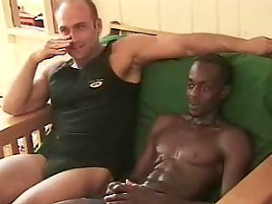 After getting fucked by a milky boy this homo black fellow cums all over himself