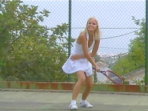 Two lovely chicks in tennis dresses have an amazing g/g hookup