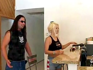 Huge-titted Summer Haze gets her snatch tongued and banged in the kitchen