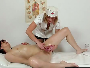 Two crazy lesbos oil their cunts and finger them to orgasm