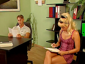 Nubile Blonde Assistant Gives Her Chief Anal invasion on His Desk
