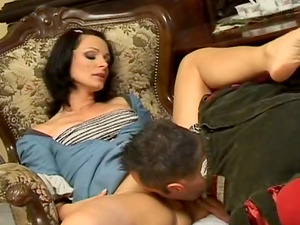 Dark haired mummy Cameron Cruise, wearing a medieval sundress, gets fucked hard