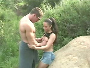 Ultra-cute Latina Simone Claire blows and gets her vag pounded in the forest