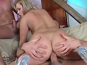 Romp addicted Ellen Saint gets fucked in all slots by two guys