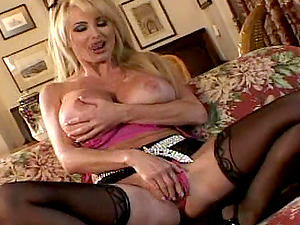 Cougar in nylon stockings gets jizm on tits after getting screwed doggystyle