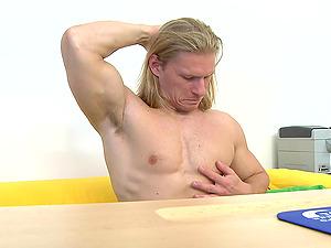 Big Blonde Homosexual Bodybuilder Fucked Without a condom